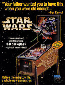STAR-WARS-TRILOGY-Pinball-Machine-Flyer-Original-NOS-1997-Artwork-SEGA-Space-Age