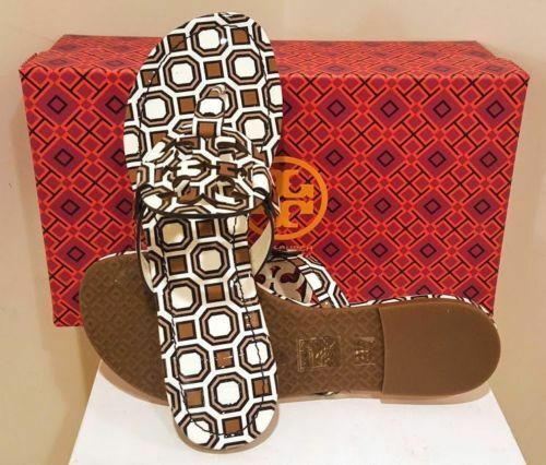 New  198 Tory Burch MILLER SANDAL New Ivory Octagon Square TAN Brown 7.5 NIB