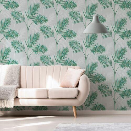 South Beach Palm Leaf Fine Decor Papier Peint Gris Pierre Métallisé Mica FD42678