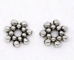 300-Antiksilber-Blumen-Spacer-Perlen-Beads-6-5mm