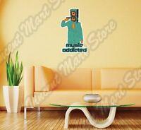 Music Addicted Speaker Subwoofer Wall Sticker Interior Decor 18x25