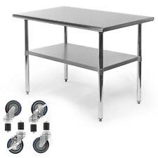Commercial Stainless Steel Kitchen Food Prep Work Table With 4 Casters 30 X 48