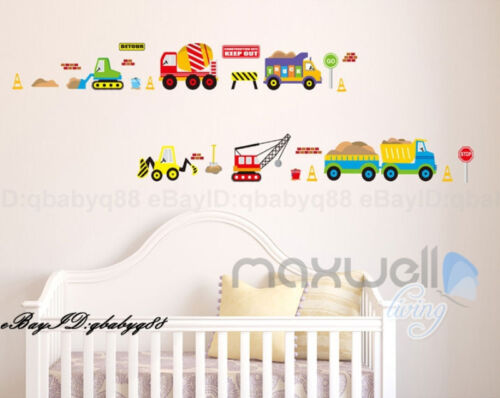 Truck Car Builder Vehicle Removable Wall Decals Decor kids Sticker nursery Art