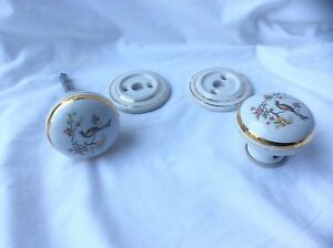 Attractive Pair of White Patterned Porcelain Door Knobs with ...