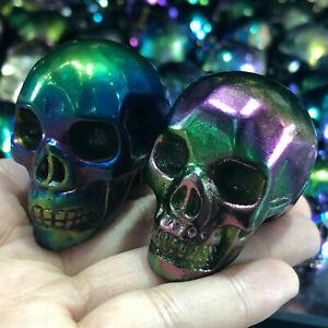 titanium-rainbow-aura-quartz-fluorite-skull-crystal-hand-Carved-healing-1pc