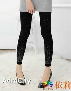 43cca4b12a4 Image is loading Silver-Dots-Glitter-Gradients-Spandex-Footless-Pants- Leggings-