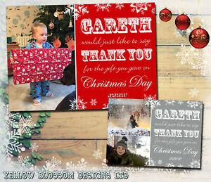 10-Personalised-Christmas-Thank-You-Cards-Photo-Flat-Folded-Children-Boys-Girls