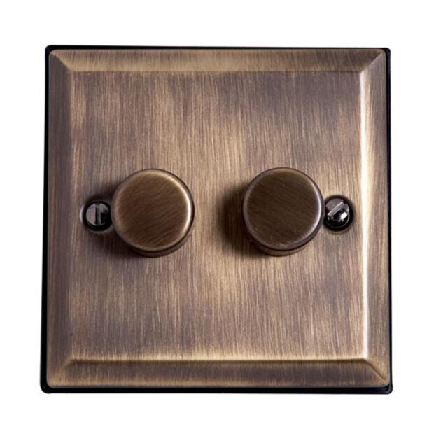 OLD ANTIQUE BRASS EFFECT DOUBLE ROTARY DIMMER SWITCH ON OFF 240v 1 WAY 2 GANG