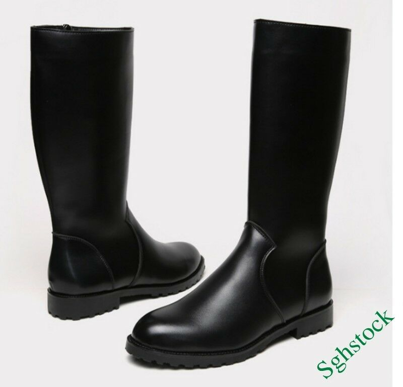 Mens Knee Boots Combat Military Faux Leather Jockey US6-10.5 Black Riding Shoes
