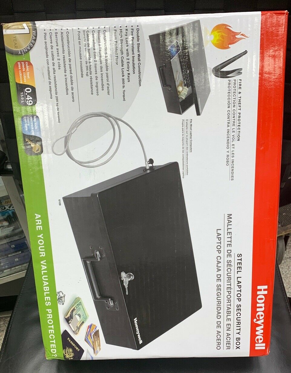 HONEYWELL 6109 LARGE//LAPTOP STEEL SECURITY BOX w//TETHERING CABLE 0.49'Cu. NEW