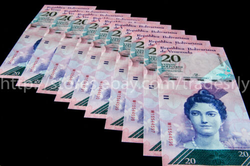 Venezuela Banknotes 20 Bolivares UNC 10 Consecutive Bills.