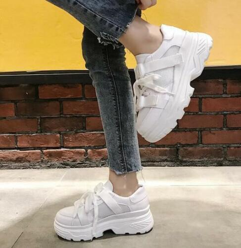 Women/'s High Top Hidden Heels Bout Rond Athletic Lace Up Baskets Baskets Chaussures