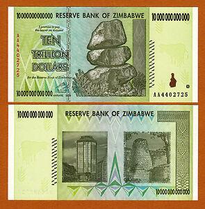 2008 Prefix AA Pick-88 UNC 10000000000000 Zimbabwe 10 Trillion