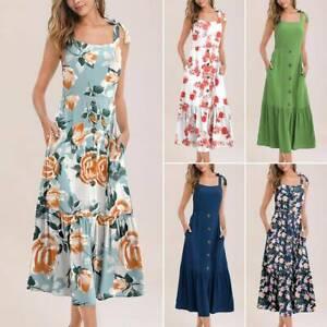 Damen Blumen Ärmellos Sommer Cocktailkleid Partykleid Abendkleid Boho Kleid S-XL
