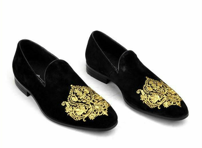 Zapatos Mocasines De Terciopelo Negro para Hombre Hecho a Mano Bordado Slipper Formal Informal botas