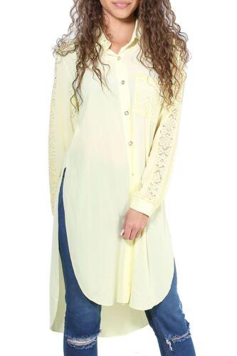 Ladies Oversized Womens High Low Buttons Baggy Cold Shoulder Dip Hem Shirt Dress