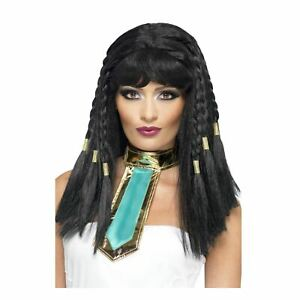 Cleopatra Black Braided Wig Ladies Fancy Dress Egyptian Queen Costume Accessory