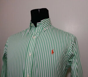 POLO Ralph Lauren Men Size S Dress Shirt Button Down Green White Stripes NWT