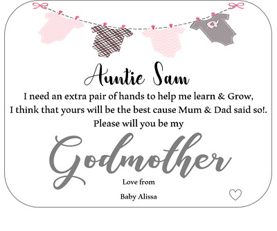 HANDMADE PERSONALISED Will You Be My Godmother//Godfather//Godparents Request CARD