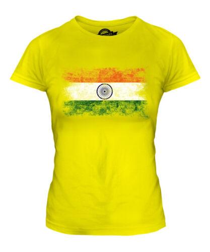 INDIA DISTRESSED FLAG LADIES T-SHIRT TOP BHAROT BHARATA BHARAT INDIYA INDIAN