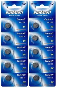 10-x-CR1130-3V-Lithium-Knopfzelle-48-mAh-2-Blistercard-a-5-Batterien-Eunicell