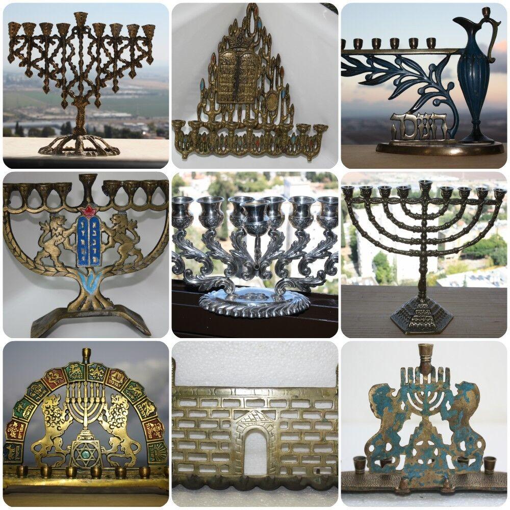 Judaica Vintage Hanukkah Lamp Jewish Brass Bronze Menorah Jerusalem Holy Land  1