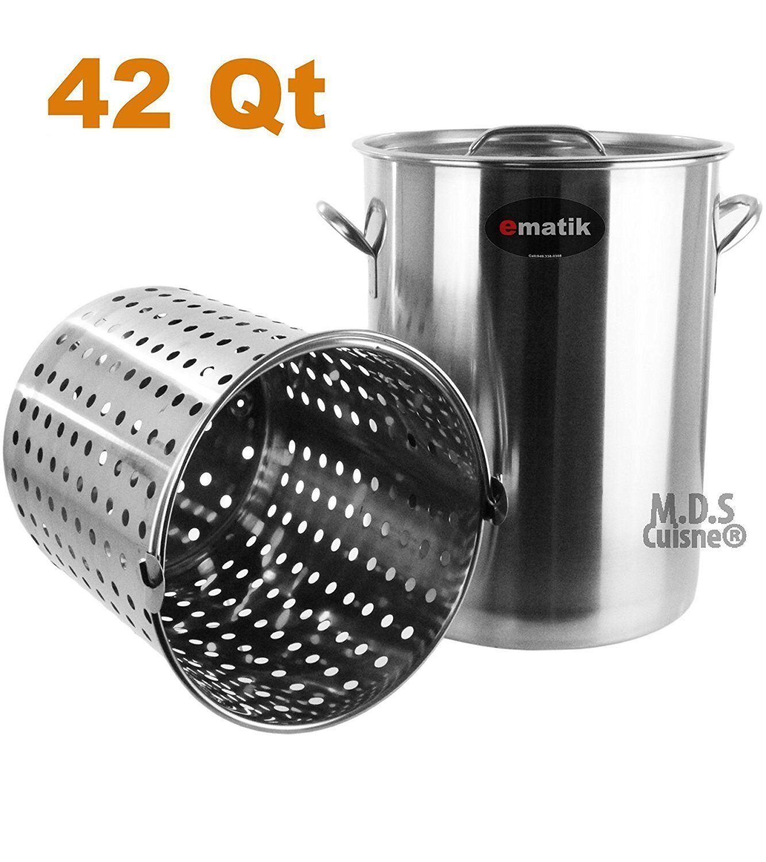 Pot en acier inoxydable 42 Qt avec Passoire Panier Ustensile COMMERCIAL FRITEUSE pot