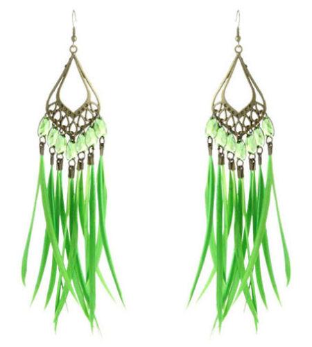 FJ201 Slim Boucles d/'oreilles plume 12 couleurs Sheer Tear Bead leaf lustre Eardrop