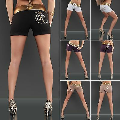 Women's Sexy Gold Trim Rhinestone Crown Shorts - S / M / L / XL