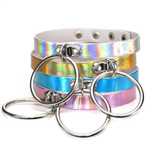 Anillo láser holográfico Gargantilla Collar Rainbow Gótico Collar Mujeres Círculo Reino Unido