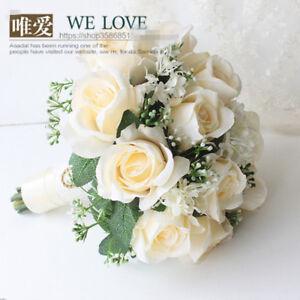 Cream Artificial Satin Roses Vintage Wedding Bridal Bouquet Bride