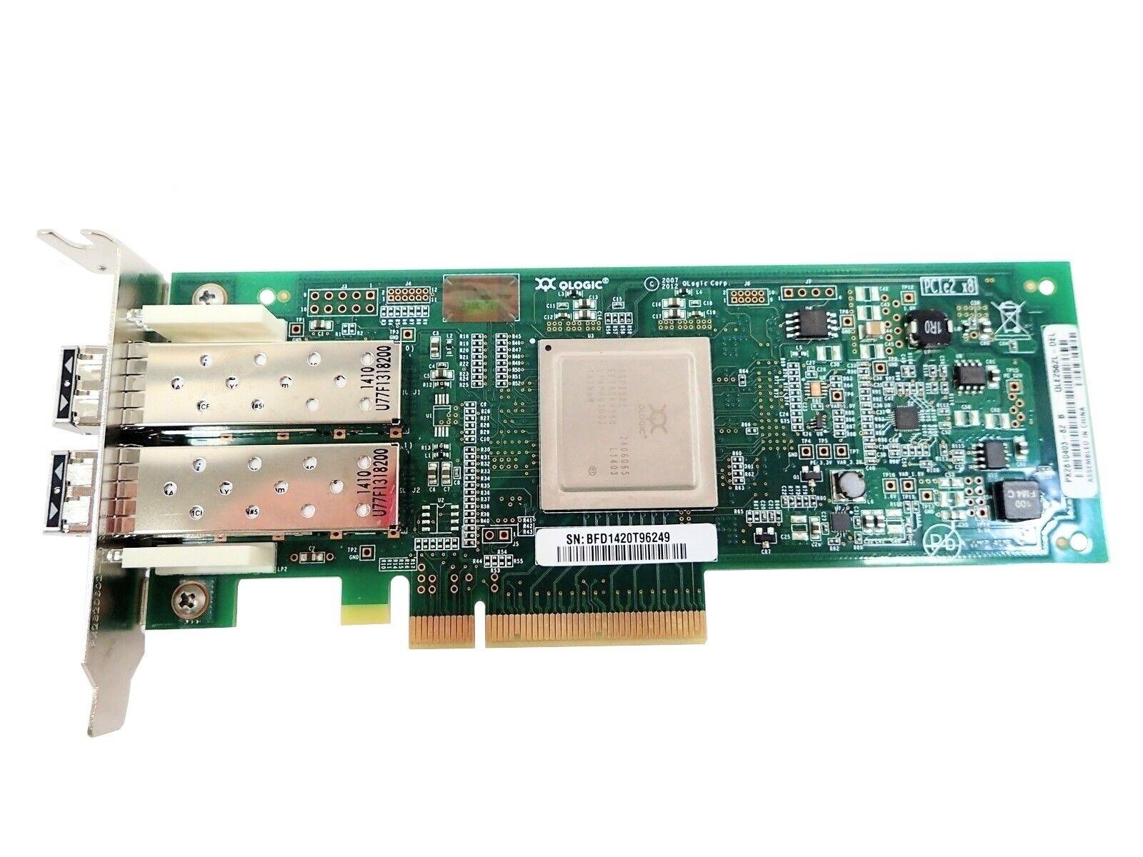 Mix Brand QLogic QLE2562 8GB Dual Port Fibre Channel Low Profile w/ (2) SFP