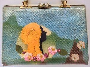 Vintage-Hawaiian-Purse-Lady-Silhouette-3D-Vinyl-Lucite-Handle-Floral-Tropical