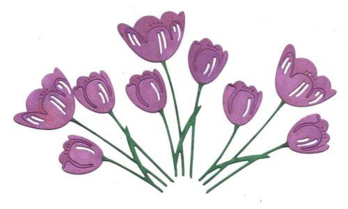 Purple Tulip Pâques Carte Topper embellissement X 3 Die Cut /& Main Inked 8.5 cm