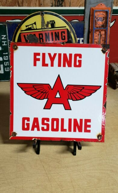 "FLYING A GASOLINE /""Red background/"" 13.5/"" Gas Pump Globe"