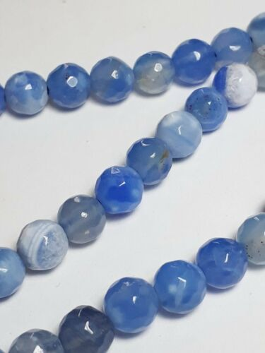 Grade B B34147 10pcs Bleu Clair Teints agate faceted gemstone Beads