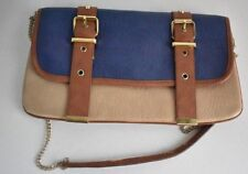 Steve Madden Envelope Clutch Shoulder Crossbody Chain Purse Hand Bag Blue Brown