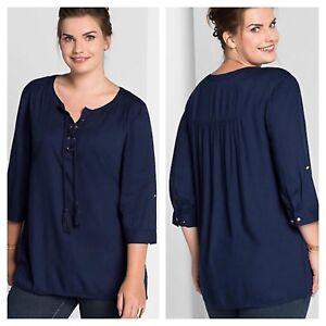 605e572abfb Sheego @ Kaleidoscope Plus Size 20 Navy Tassel Lace Up Tunic TOP ...