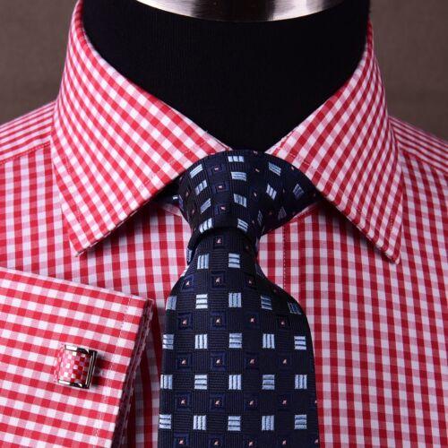 Red Plaids /& Checks Formal Business Dress Shirt Small Pindot Pink 2x French Cuff