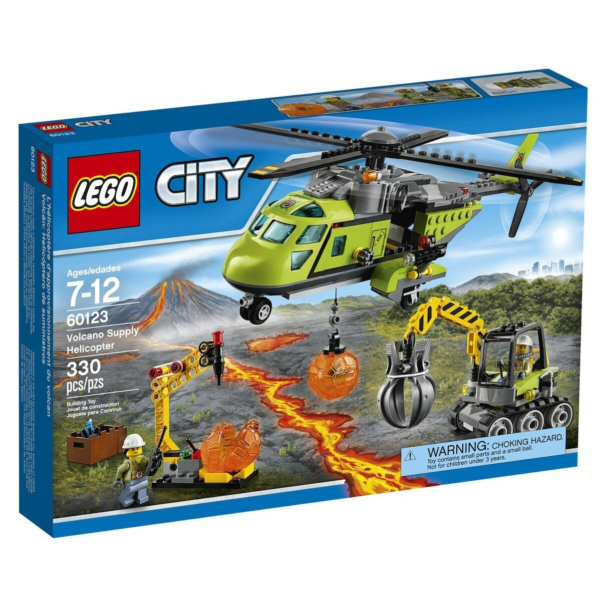 LEGO City (60123) Volcano Exploration Rescue Helicopter & (60124) Base (BNISBs)