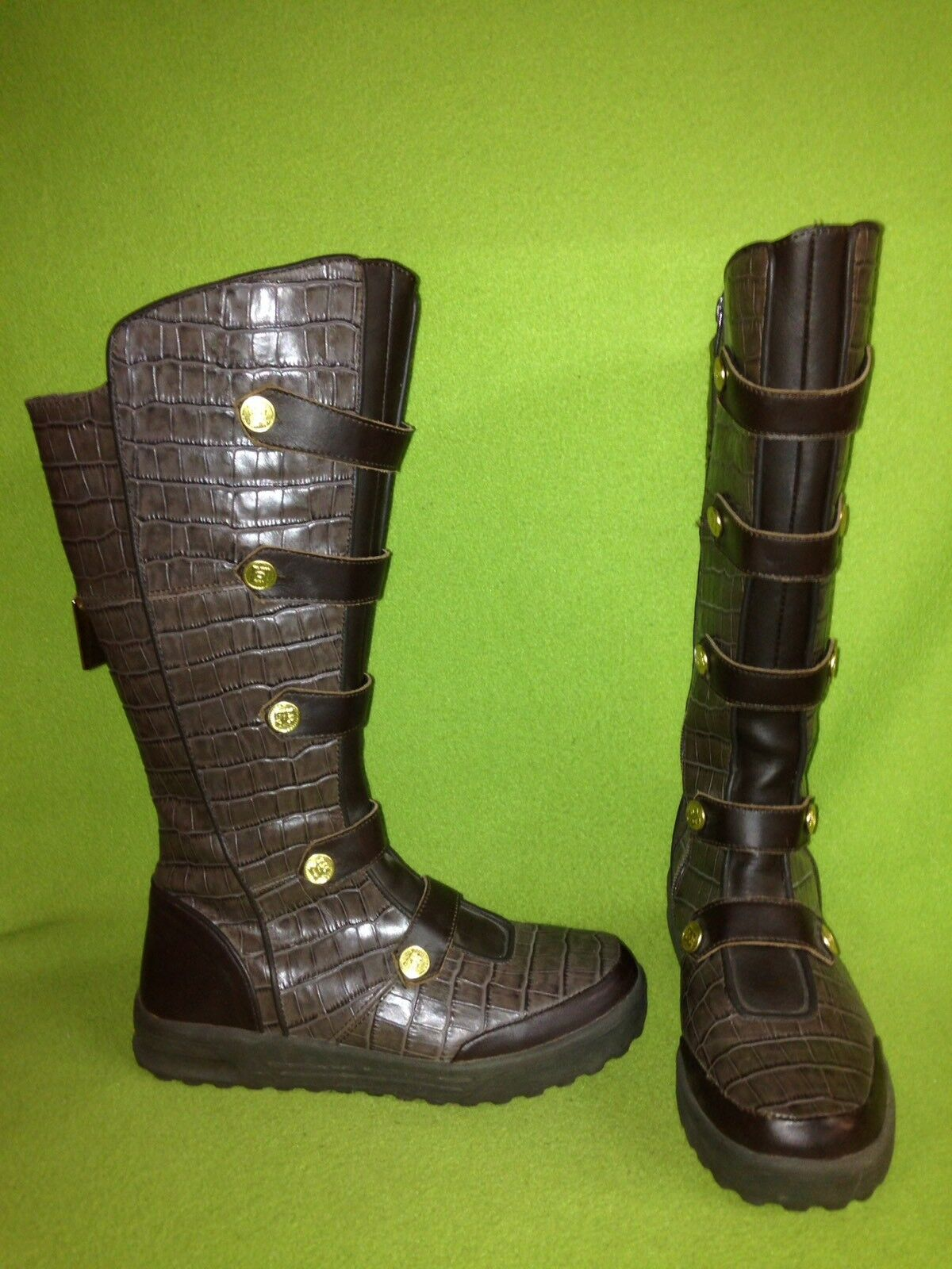 Brown Scale Stamped DC Boots with Spat detail 7