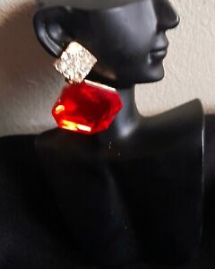 Gold  and red Drop earrings
