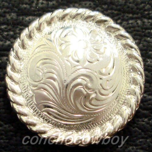 WESTERN LEATHER CRAFT TACK BRIGHT SILVER ENGRAVED ROPE EDGE CONCHO screwback