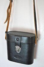 Vintage Black Leather Camera Case Bag with Strap Snap Closure