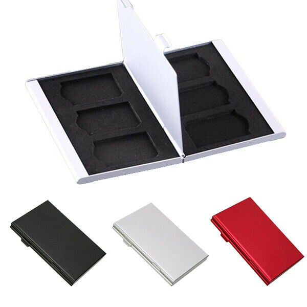 6 Slots Alloy Storage Box SD/SDHC/SDXC/MMC Memory Card Case Holder Protector