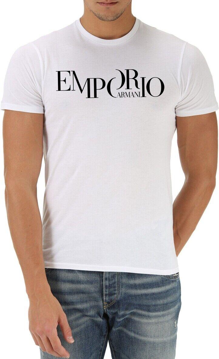 EMPORIO ARMANI White mens T-Shirt EA --Slim fit-- Size M,L,XL NEW