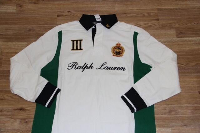 Ralph Lauren Cotton Rugby Crest Polo Weiß Shirt  Large L Custom Fit