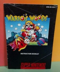 Wario-039-s-Woods-SNES-Super-Nintendo-Instruction-MANUAL-ONLY-No-Game