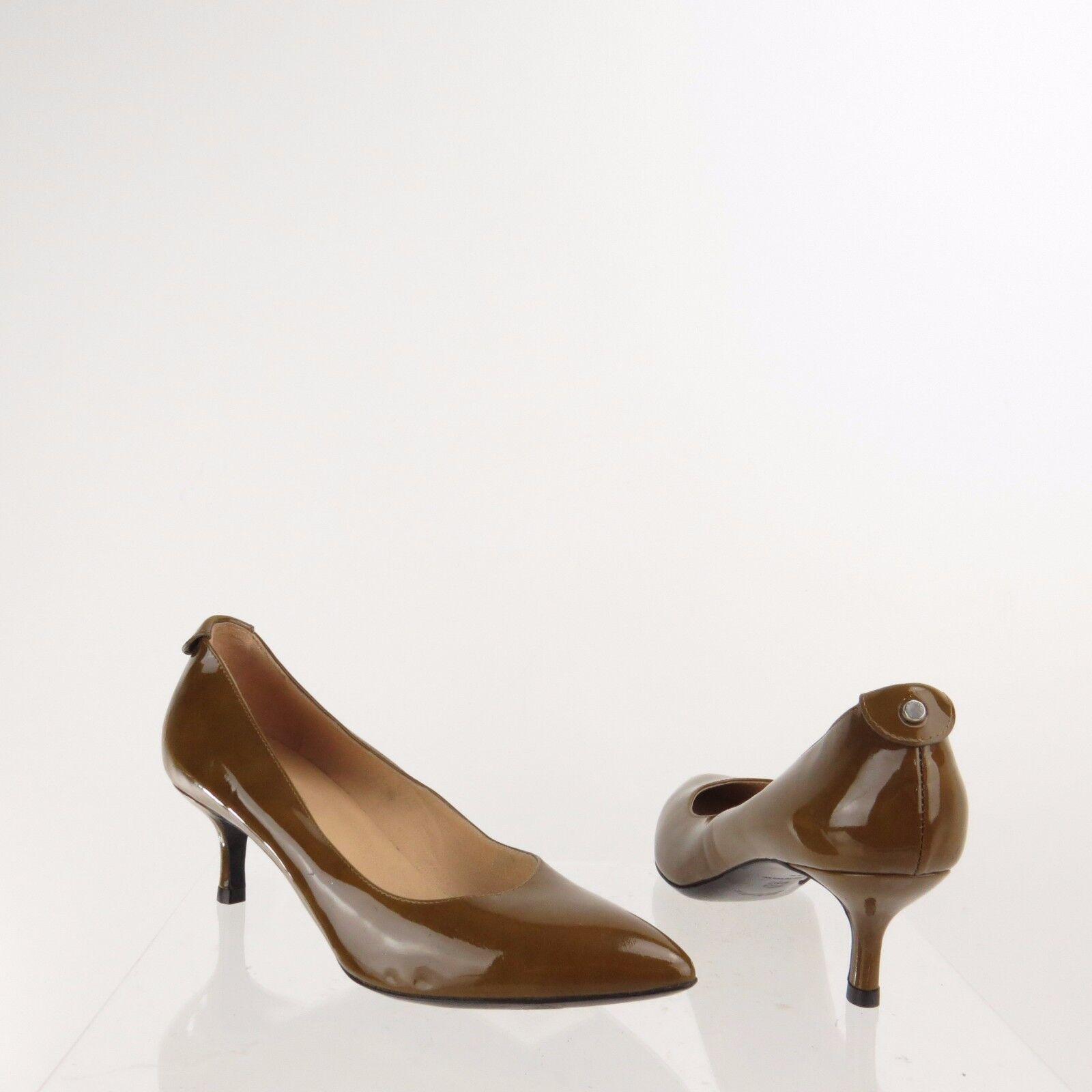 Femme Long Champ Chaussures marron cuir verni bout pointu Escarpins SZ UE 36 nouveau  390