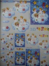 Christmas 3D Paper Tole Cute Angels in Cloud & Presents